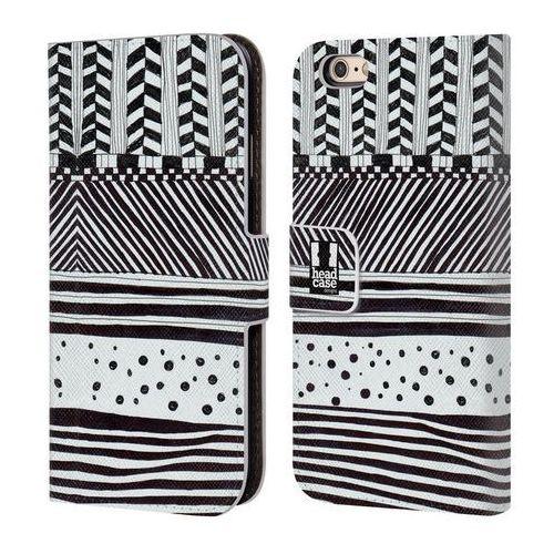 Head case Etui portfel na telefon - black and white doodle patterns horizontal mix
