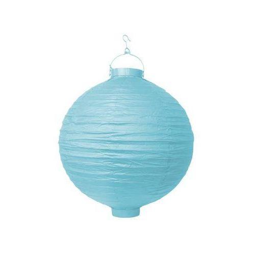 Świecący ogrodowy lampion papierowy 30 cm, błękitne, 1 szt. (5902230704626)