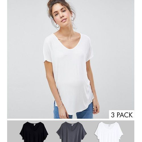 Asos design maternity t-shirt with drapey batwing sleeve 3 pack - multi marki Asos maternity