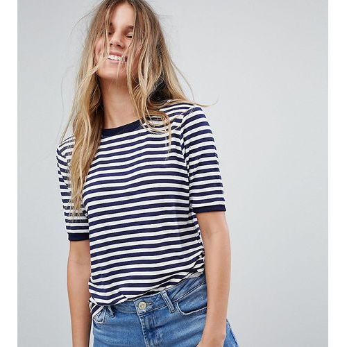 stripe t-shirt with contrast collar - navy, Boohoo