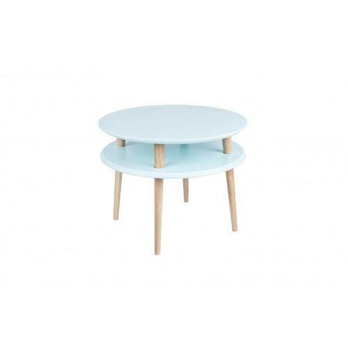 Okrągły drewniany stolik kawowy ufo średni - kolor jasny turkus/ kolor nóg naturalny buk marki Ragaba