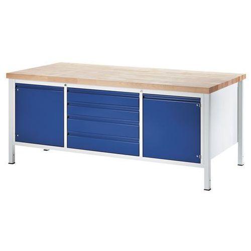 Stół warsztatowy, stabilny, 4 szuflady w rozmiarze XL, 2 drzwi, głęb. 900 mm, sz