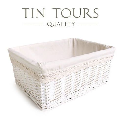 Tin tours sp.z o.o. Biały koszyk z ozdobnym materiałem / szuflada 48x35x21 cm