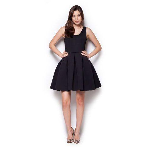 Czarna Rozkloszowana Sukienka Mini z Dekoltem V na Plecach, w 4 rozmiarach