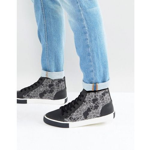 Asos mid top trainers in black and white with contrast pattern - black