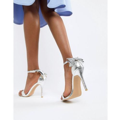 barely there sandal with bow back - silver marki Glamorous