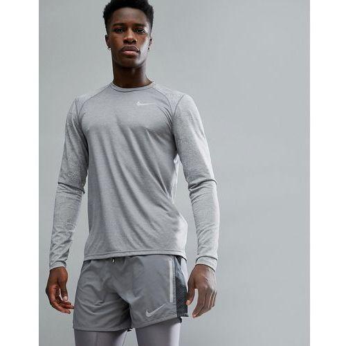 breathe miler long sleeve top in grey with arm print 904665-036 - grey, Nike running