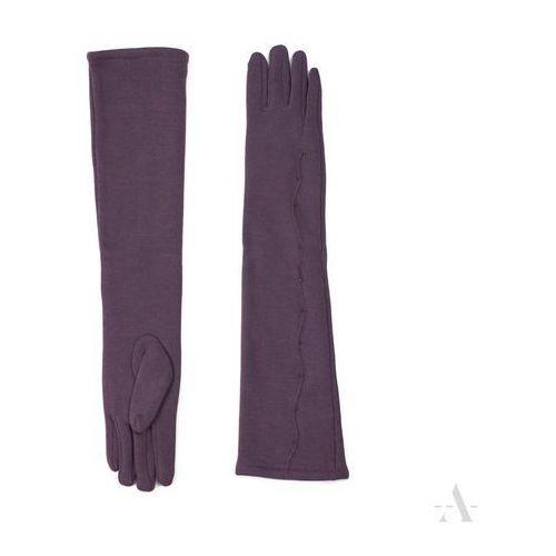 Długie ocieplane rękawiczki elegancka fala brudny ciemny lila - liliowy marki Evangarda