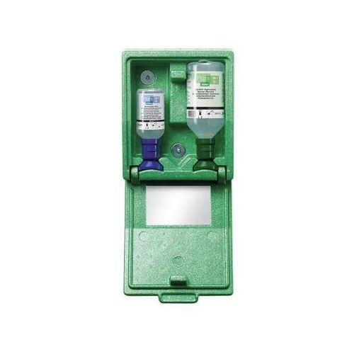 Ratunkowy pojemnik ścienny z butelkami do płukania oczu, 1 x roztwór soli kuchen
