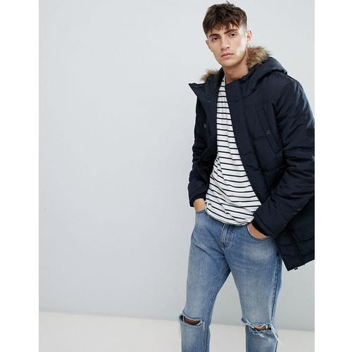 Esprit parka with faux fur hood in navy - navy