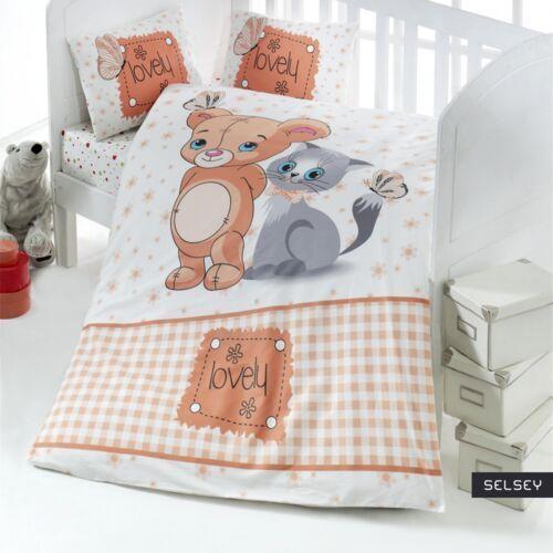 SELSEY Dziecięca pościel do łóżeczka Lovely Mouse and Cat 100x150 cm z dwiema poszewkami na poduszkę 35x45 cm i z prześcieradłem (5903025284767)