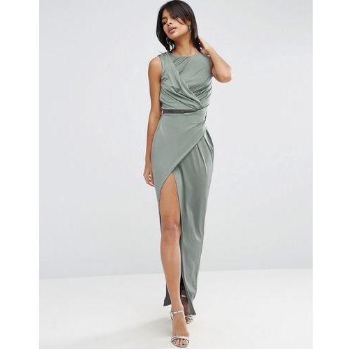 ASOS Slinky Embellished Waist Trim Maxi Dress - Grey