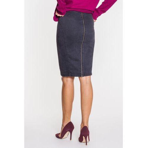 Jeansowa spódnica w kolorze grafitowym z wyrazistym suwakiem - RJ Rocks Jeans