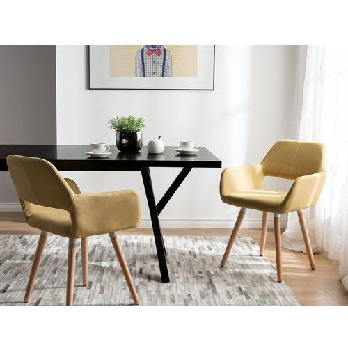 Zestaw do jadalni 2 krzesła musztardowe chicago marki Beliani
