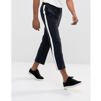 ASOS Straight Crop Smart Trousers In Navy With White Side Stripe - Navy