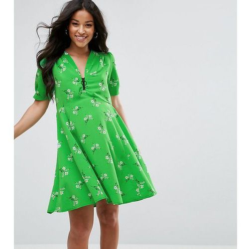 ASOS Maternity Short Sleeve Floral Tea midi dress with Zip Detail - Green