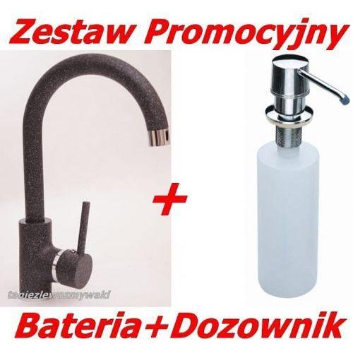 Zestaw Promocyjny Bateria Kuchenna Granitowa LUGA Grafit+ Dozownik