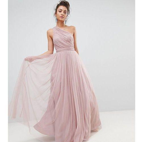 premium tulle one shoulder maxi dress - pink marki Asos tall