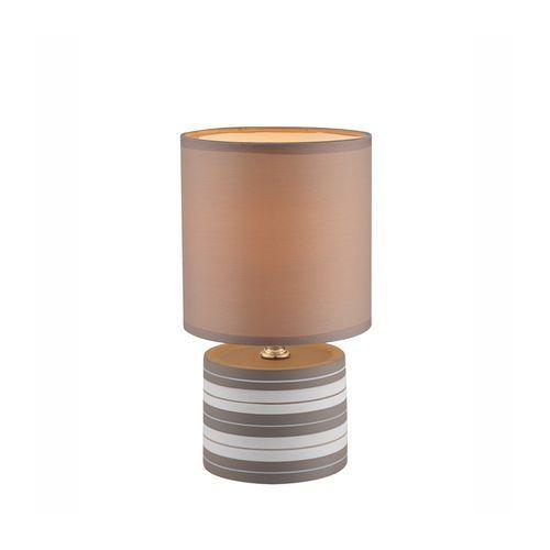 Lampka biurkowa laurie 21663  abażurowa lampa stołowa ip20 okrągły paski brązowy marki Globo