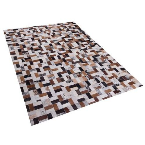 Dywan brązowo-beżowy - 160x230 cm - skórzany - futrzany - CESME (4260580938988)