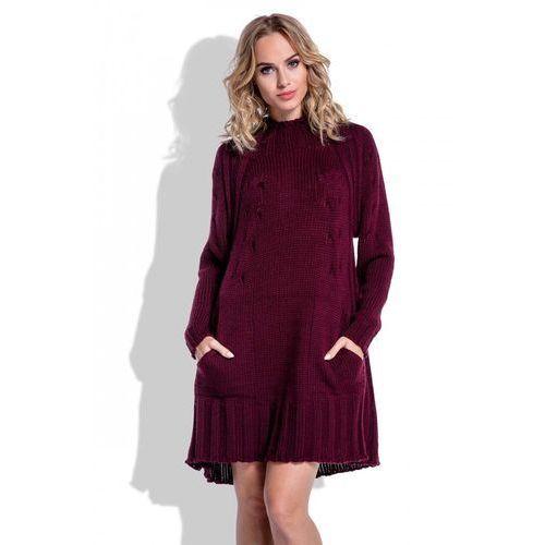 8fd4e87be3 Swetrowa Bordowa Sukienka Oversize z Kie.