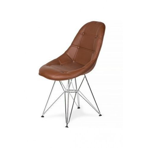 King home Krzesło eko silver mleczna czekolada t23 - ekoskóra, podstawa metalowa chromowana (5900000024967)