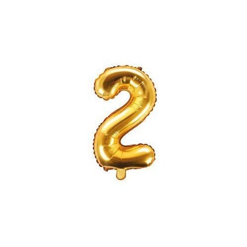 Balon foliowy cyfra 2 złota - 35 cm (5902230772526)
