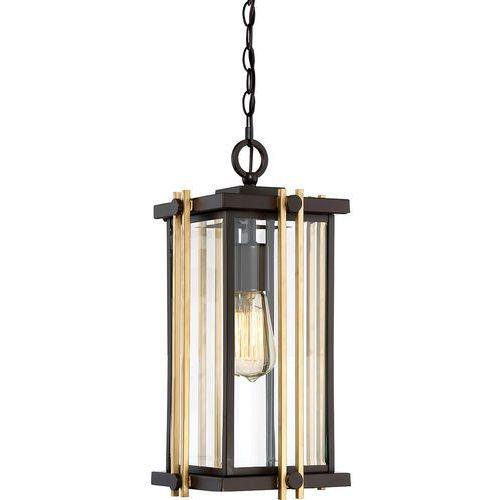 Zewnętrzna lampa wisząca goldenrod qz/goldenrod8/m elstead tarasowa oprawa na łańcuchu zwis klatka ip44 brąz złota marki Quoizel
