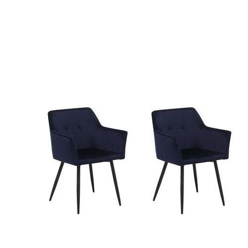 Zestaw do jadalni 2 krzesła welwet ciemnoniebieskie JASMIN