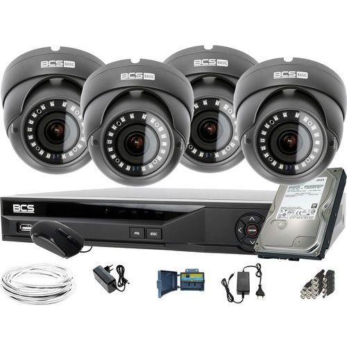 4x BCS-B-DK42812 2560×1440 4MPx BCS Basic zestaw do monitoringu Dysk 1TB Akcesoria