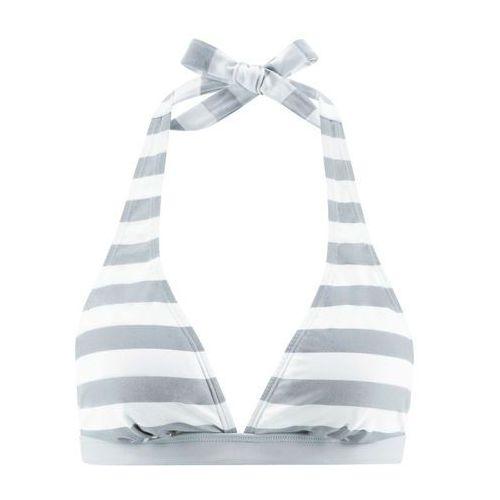 Biustonosz bikini z ramiączkami wiązanymi na szyi bonprix szaro-biały