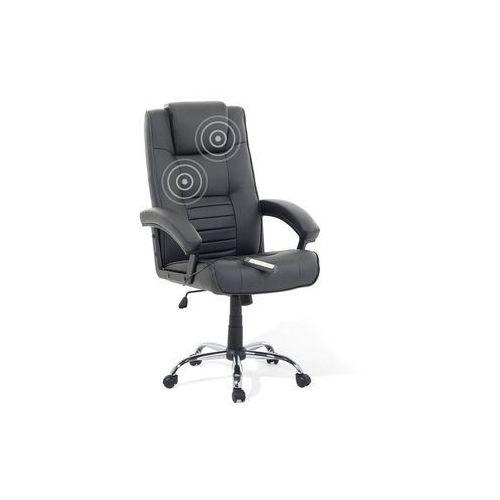 Krzesło biurowe obrotowe czarne - fotel tapicerowany - masaż - comfort marki Beliani