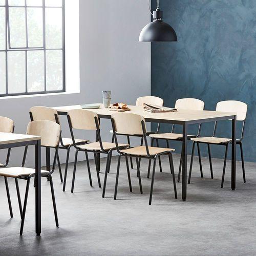 Aj produkty Zestaw mebli do stołówki, stół 1800x800 mm, brzoza + 6 krzeseł, brzoza/czarny