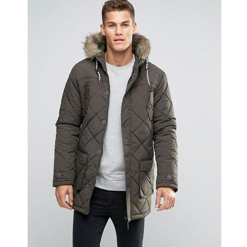 quilted parka jacket with faux fur trim hood - green, Brave soul