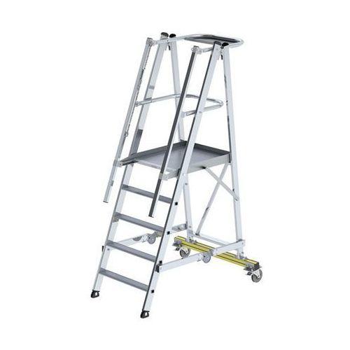 Aluminiowa drabina platformowa, na kółkach, z 3-stronną poręczą platformy, 6 szc