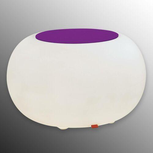 Stolik BUBBLE, białe światło i fioletowy filc