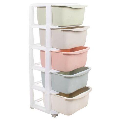 Regał z szufladami na kółkach 5 półek pastelowe