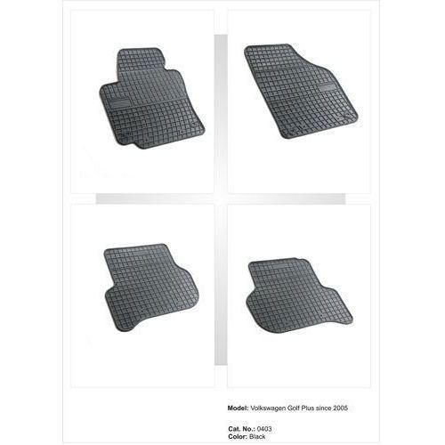 Dywaniki gumowe czarne z kompletem stoperów - Volkswagen Golf (V) Plus od 2005