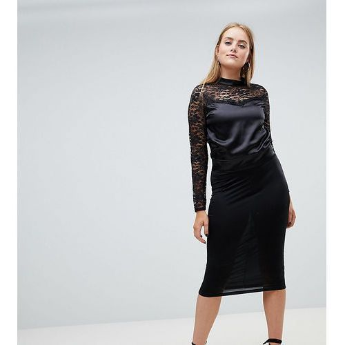 lace top with bow back - black marki Boohoo
