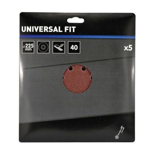 Krążek na rzep Universal 225 mm P40 z otworami 5 szt., DWS001