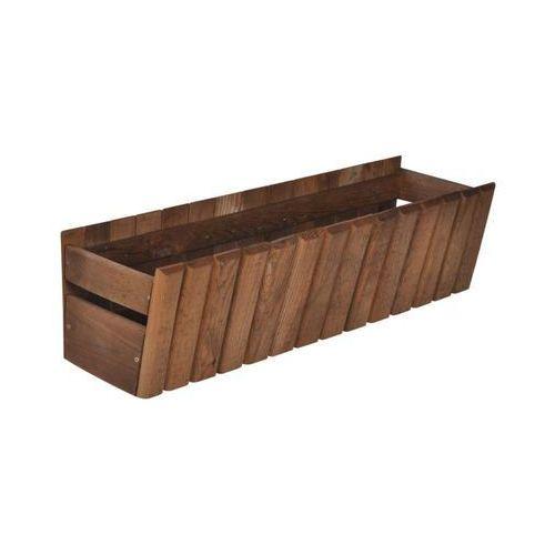 Donica / skrzynka balkonowa 60 x 20 cm drewniana brązowa stokrotka marki Sobex