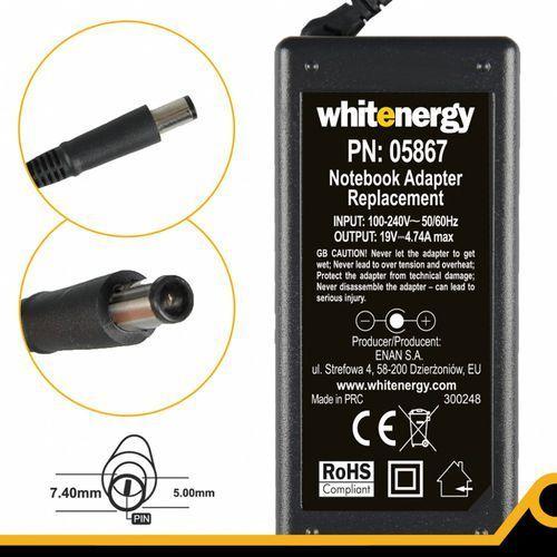 zasilacz 19v 4.74a wtyczka 7.4 x 5.0 mm + pin hp compaq marki Whitenergy