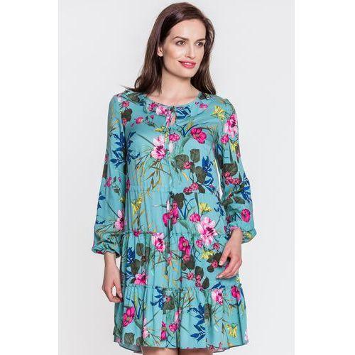 Margo collection Zielona sukienka w kwiaty -