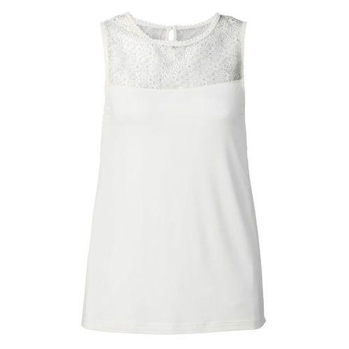 Top z koronką bonprix biel wełny, kolor biały