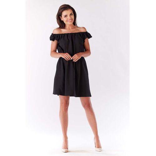 Infinite you Czarna sukienka koktajlowa mini z dekoltem carmen