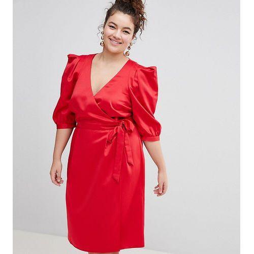 Asos design curve wrap dress with tie detail - red marki Asos curve