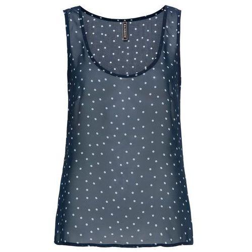 Shirt z długim rękawem morsko-biały w paski marki Bonprix