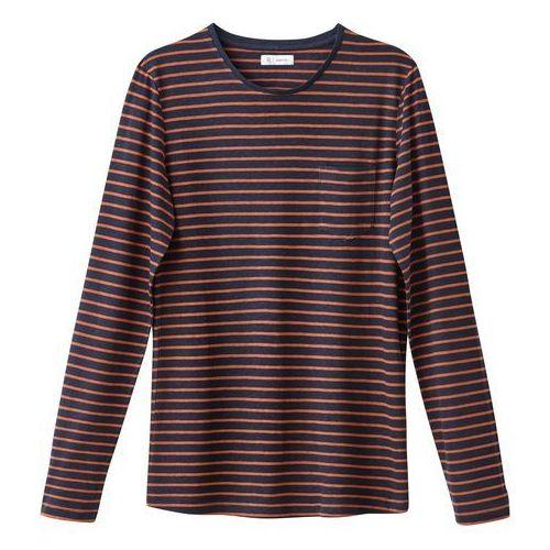 T-shirt z długim rękawem, okrągłym dekoltem, w paski, len z domieszką, len