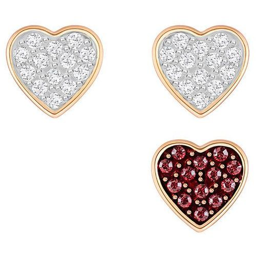 Swarovski Crystal Wishes Heart Pierced Earring Set, Red White Rose gold-plated