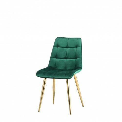 Krzesło tapicerowane welur zieleń butelkowa nogi złote big coral dostawa 0zł marki Big meble